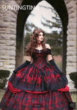 2020 Robe de mariage vintage nero rosso abito di sfera abito da sposa gotico al largo della spalla appliques del merletto in rilievo da sposa abiti da sposa