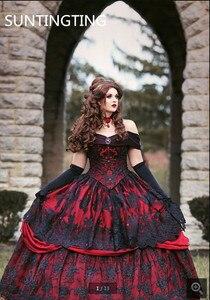 Image 1 - 2020 Robe de mariage vintage noir rouge Robe de bal Robe de mariée gothique hors de lépaule dentelle appliques perlées robes de mariée