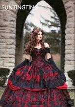 2020 Robe de mariage בציר שחור אדום כדור שמלת חתונה שמלת גותי כבוי כתף תחרת אפליקציות חרוזים כלה שמלות
