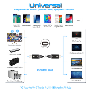 Image 5 - Thunderbolt 3 kablo 40Gbps PD 5A 100W hızlı şarj USB C C DisplayPort 4K 5K HD macbook Pro hava iMac USB C şarj kablosu