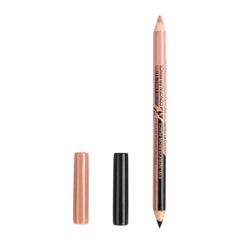 Professionele Tweekoppige Zwarte Eyeliner Blijvende Multifunctionele Eyeliner Pen + Concealer Pen Vrouwen Beauty Make-Up Tool TSLM1