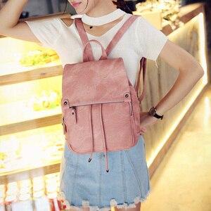 Image 4 - Da Vintage Bagpack Nữ Lưng Cao Cấp Đa Chức Năng Túi Đeo Vai Nữ Bé Gái Ba Lô Retro Schoolbag XA533H