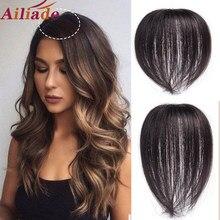 Ailiade cabelo feminino topper pedaço cabelo humano grampos de cabelo em uma peça extensão do cabelo em linha reta peruca cor natural