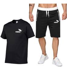 Summer 2PC Set Men EUR/US Size Short Sleeve T Shirts Two Piece Tops+ Shorts Suit Sportswear Set Mens Short Sets Male Tracksuit(China)
