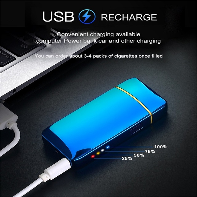 Electric Metal Lighters Windproof Dual Arc Plasma Rechargeable USB Lighter Disposable Smoking Cigarette Lighter For Men Gadgets 3