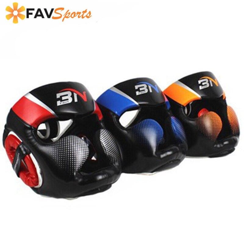 Полностью покрытый боксерский шлем Муай Тай искусственная кожа тренировочный спарринг боксерский головной убор оборудование для спортзал...