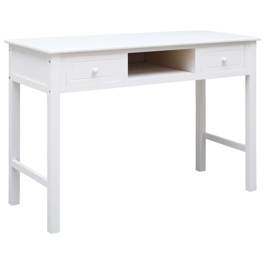 VidaXL Writing Desk White 110x45x76 Cm Wood