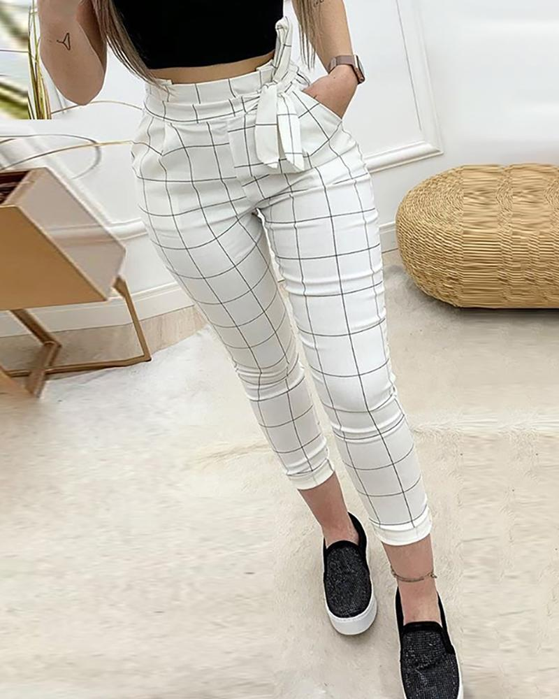 2019 Autumn Women Elegant Cropped Pocket Pants Female Fashion White High Waist Grid Paperbag Waist Casual Pants