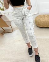 2020 весенние женские элегантные укороченные брюки с карманами, женские модные белые повседневные штаны с высокой талией в клетку
