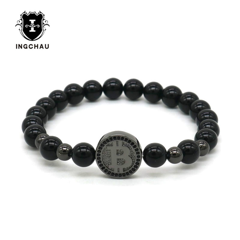 2019 Gun Black Luxury Bitcoin Bracelet Men Black Onyx Beaded Bracelets For Men Best Friend Gift Pulseira Masculina BT-11 1