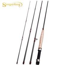 Sougayilang vara de pesca ultraleve portátil, cabo de cortiça macia e 4 seções, vara de pesca com mosca, equipamento de pesca 9ft, 2.7m