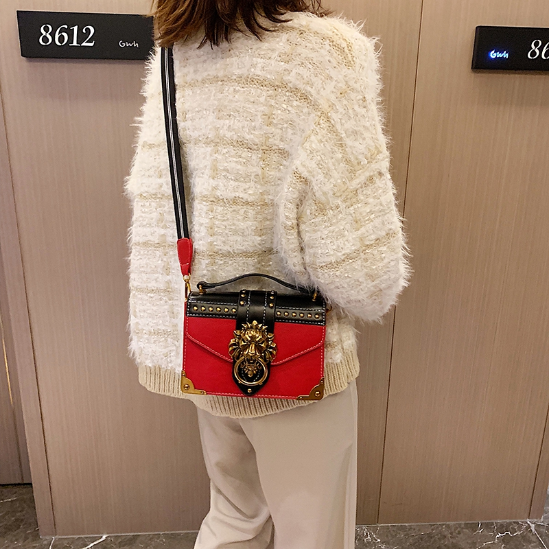 H848240cf81574a0a8c901f955dc4ed4dA - Female Fashion Handbags Popular Girls Crossbody Bags Totes Woman Metal Lion Head  Shoulder Purse Mini Square Messenger Bag