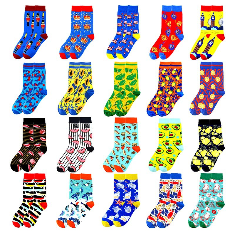 Adult Socks Colored Fish Goldfish Koi Whale Dolphin Pizza Haw Apple Crab Octopus Crown Papaya Avocado Tower Teapot Brightly Sock