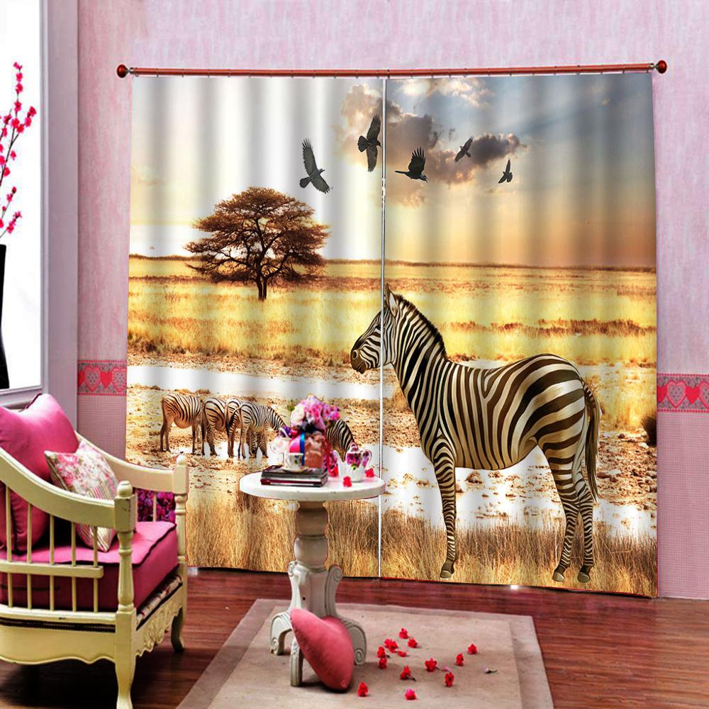 African Steppe Zebra Eagle Curtain 3D Digital print for Living room bedroom blackout curtain