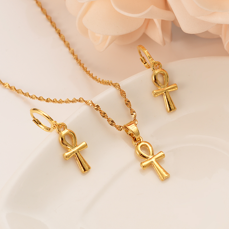 HOT <font><b>Jewelry</b></font> <font><b>sets</b></font> CEgypt cross <font><b>Sets</b></font> <font><b>Nigeria</b></font>/Sudan/Eritrea/Kenya/ Habesha style pendant earring gifts image