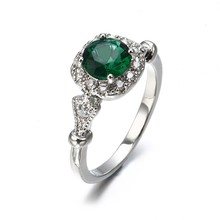 Rings Big Green Oval Opal Stone Antique Green + Silver Rings For Women Retro Texture Engraved Love Ring Wedding Rings Number 8(China)