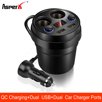AsperX USB Car Lighter Adapter Cigarette Splitter Socket Charger Dual QC3.0 12/24V 4 in 1 Led Display - discount item  36% OFF Auto Replacement Parts