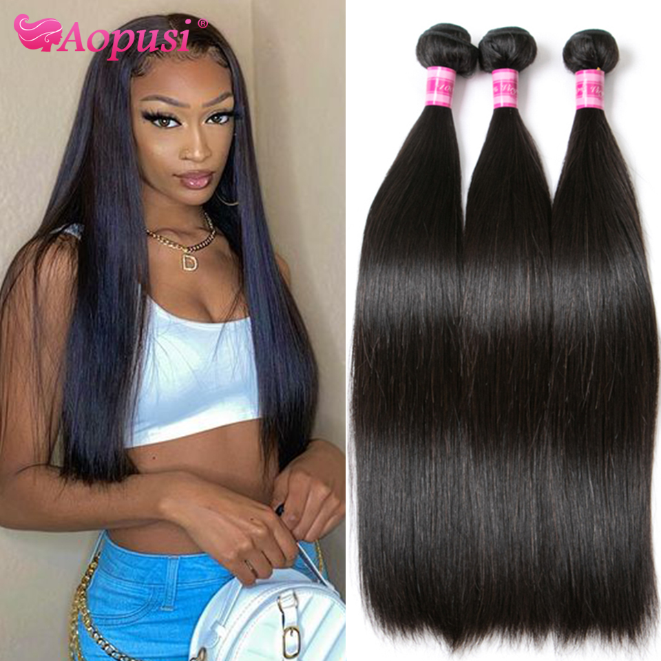 Aopusi пряди волос, малазийские человеческие волосы, пряди для наращивания, натуральные пряди волос 8-30 дюймов, натуральные/черные