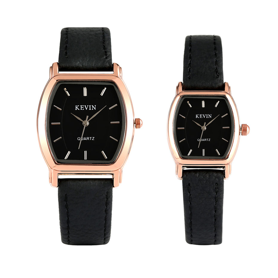 KEVIN Casual Couple Watches Quartz Movement Rose Gold Watch Case Black Leather Wristwatch Men Women Lovers' Clock New 2019