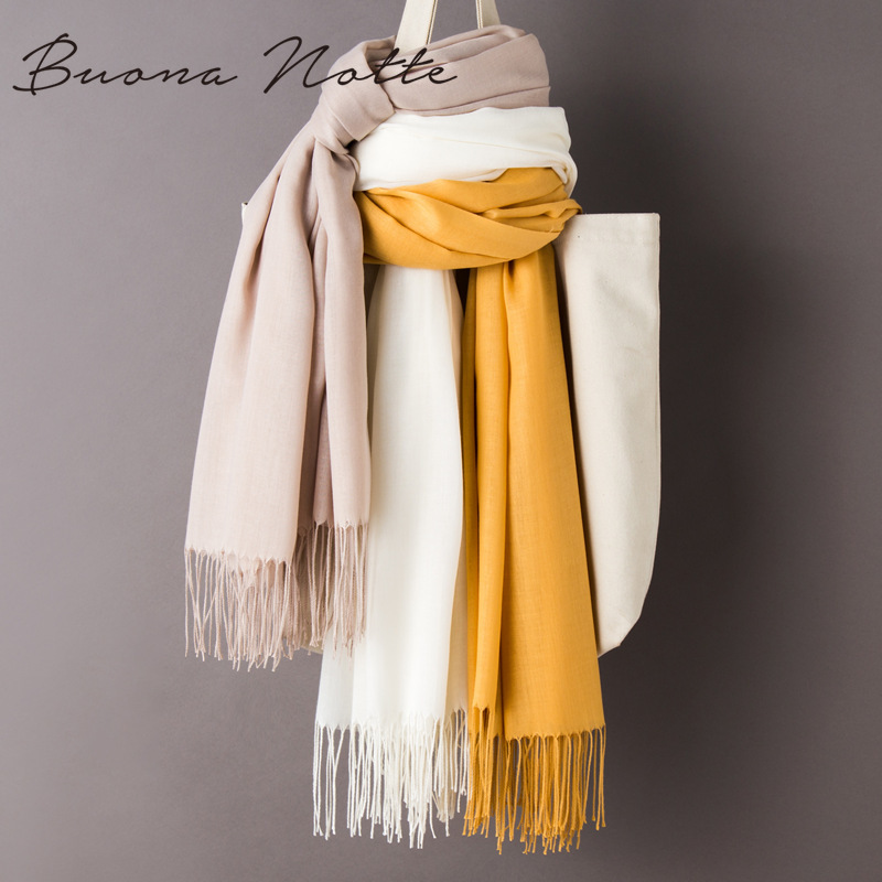 Women Solid Color Cashmere Scarves With Tassel Autumn New Soft Warm Lady Girls Wraps Thin Long Scarf Female Shawl Men Scarf