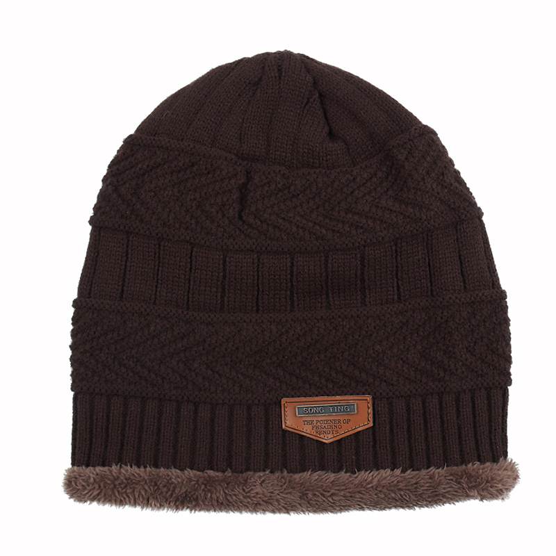 Fashion Labeling Wool Hat Autumn And Winter Plus Velvet  Warm Knit Hat Men And Women Outdoor Hooded Wild Curling Hat