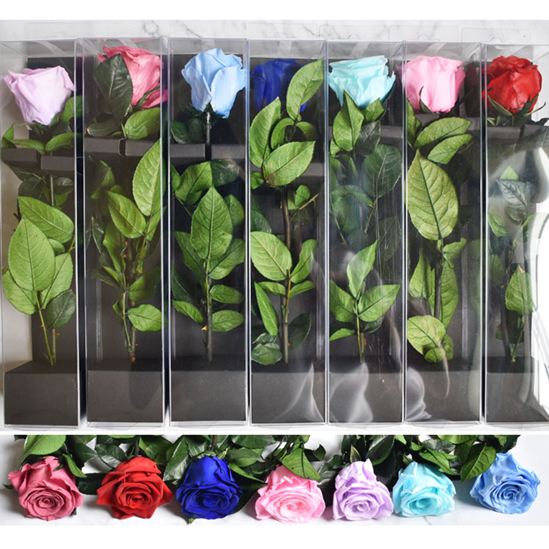 4-5CM Diameter Preserved Rose Flowers Rose With 28cm Stem Mothers Day DIY Wedding Eternal Life Flower Material Gift