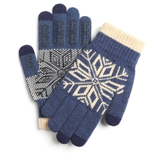 Warm-Gloves Cycling-Mittens Knitted Snowflake Plush-Lining Touch-Screen Winter Anti-Slip