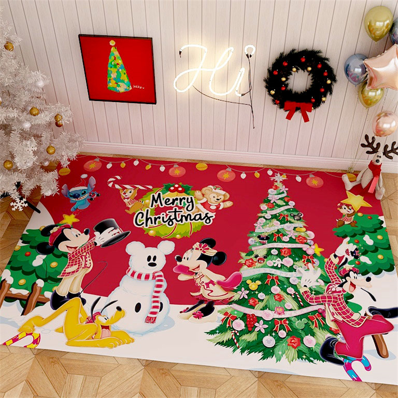 Merry Christmas Rug Carpet  Mickey Playmat  Bedroom Kids Play Mat Santa Tree Gifts Area Rugs Bedside Carpets for Living Room