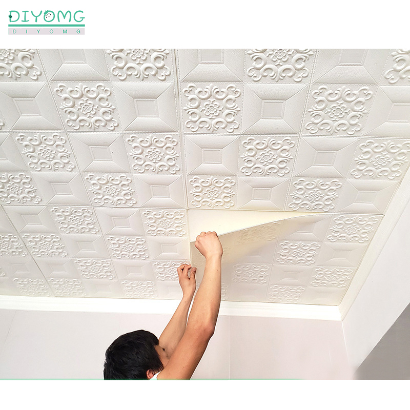 Waterproof Self-adhesive Roof Ceiling Wallpaper 3D Ceiling Wall Contact Paper Stickers TV Background Roof Decor Paper Decals