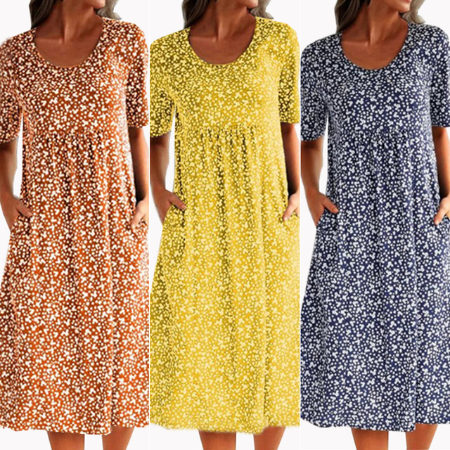 Women Printed O-neck Dress Short Sleeve A-Line Knee Length Pleated Dresses For Woman Summer Dress Women Casual Cotton Dress 4
