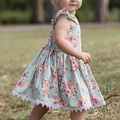 Girl Flower Clothing Kids Baby Girls Clothes Lace Sling Floral Printing Party Dress Small Fresh Princess Dress Summer Knee Dress