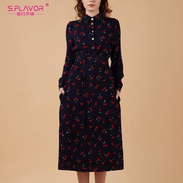 S.FLAVOR Women Long Sleeve Print Shirt Dress Elegant Turn down Collar Casual Autumn Winter Dresses 2020 Slim Midi Party Vestidos