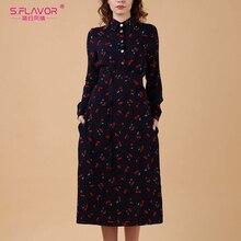 فستان S.FLAVOR للسيدات بأكمام طويلة ومطبوع أنيق بياقة مقلوبة فساتين للخريف والشتاء 2020 فساتين حفلات ميدي الضيقة