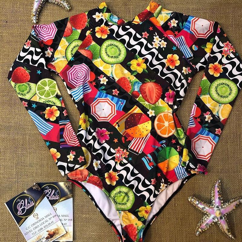 Цельный купальный костюм с принтом, одежда для плавания с длинным рукавом, женский купальный костюм, ретро купальник, винтажный цельный купальный костюм для серфинга - Color: BY19432D1