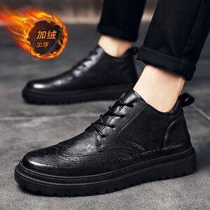 Мужские зимние ботинки с плюшевой подкладкой, модные водонепроницаемые ботинки с высоким берцем из натуральной кожи в британском стиле, Botas...