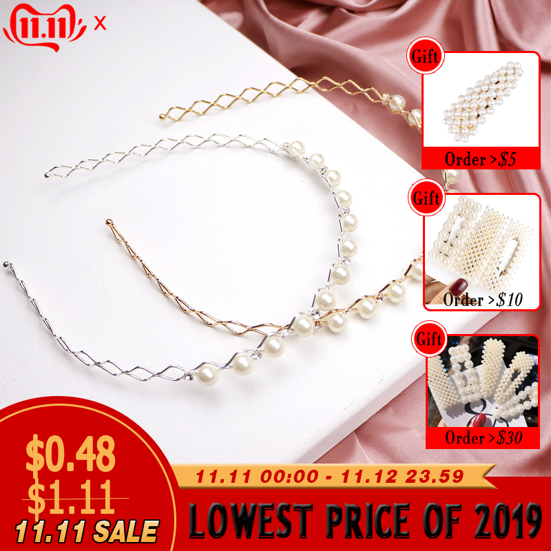 2019 New Exquisite Pearl Diamond Geometric Wave Women Hair Hoop Hair Band For Girls Princess Sweet Headband Hair Accessories