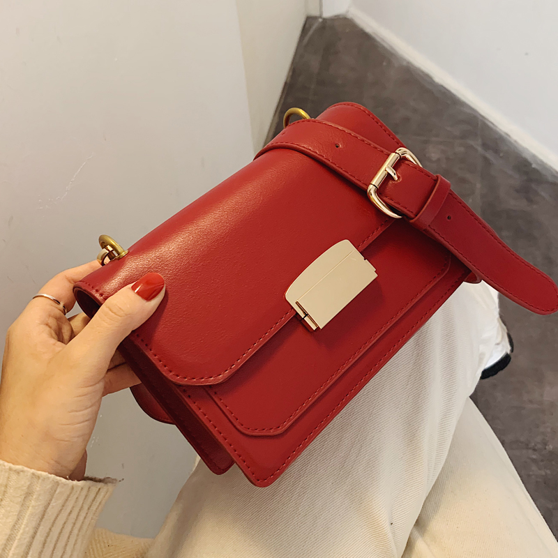 Solid Color Square Crossbody Bag 2020 Fashion New High Quality PU Leather Women's Designer Handbag Lock Shoulder Messenger Bag