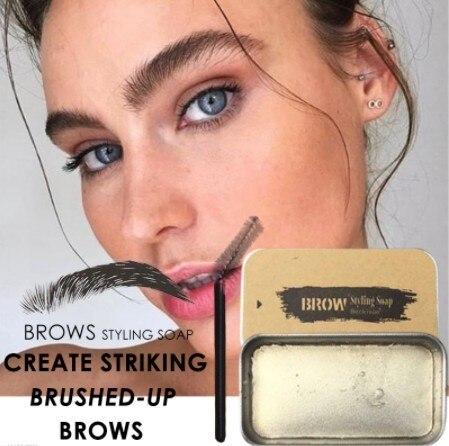 Beckisue Eyebrow Kit Pomade Cosmetics Makeup Gel Soap Cosmetics Balm Styling Eyebrow Tint Pomade Waterproof Brow Lasting 3D Wild