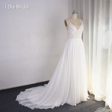 Vestido de novia con tirantes finos, falda de tul mejorado con cuentas de perlas y Apliques de encaje