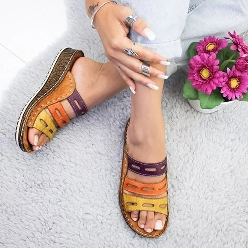 New Women Summer Stitching Sandals Casual Slip On Open Toe Sandals Rome Retro Leather Platform Wedge Slides Beach Shoes Ladies