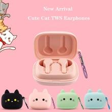 הגעה חדשה חמוד חתול אלחוטי אוזניות Bluetooth 5.0 TWS אוזניות Macaron אוזניות עם מיקרופון טעינת תיבה עמיד למים