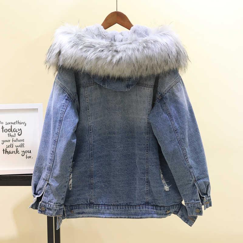 Mùa đông 2019 Hoodie Lớn Lông nữ Vải Dù Dày Dặn Ấm Thịt Cừu Lông Dài Denim Áo Khoác áo khoác mùa đông nữ phối với áo bộ lông Áo Khoác Jean