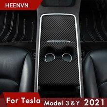 Vxvb – panneau de commande Central pour Tesla modèle 3 2021, accessoires pour voiture modèle Y, panneau de protection, Grain de bois, Fiber de carbone, Patch ABS trois