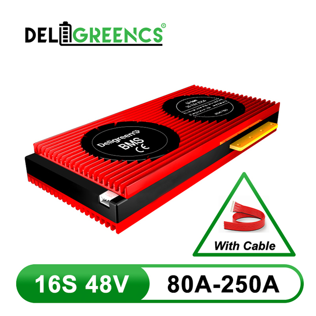 Deligreen 16S 48V battery protection board 80A 100A 150A 200A BMS for 18650 cell E bike rated 3.2V lifepo4 Battery Pack
