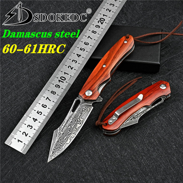 SDOKEDC Knives VG10 Damascus Ball Bearing Hunting Folding Blade Knife Tactical Military Outdoor Survival Edc Wood Pocket Knifes 1