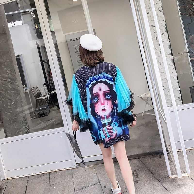 Chic Mesh Lengan Patchwork Leher O Midum Panjang Wanita T-shirt Fashion High Street Kartun Cetak Berlian Wanita Tee Longgar Top