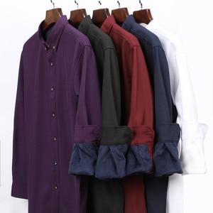 Image 5 - 2020 Winter Warm Men Shirt White Long Sleeve Fleece High Quality Formal Shirts Mens Regular Fit 8XL 9XL 10XL Plus Size Blouse