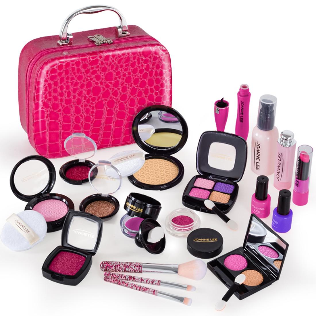 21Pcs Pretend Play Simulation Kosmetik Make-Up Handtasche Spielzeug Für Mädchen Kinder Pädagogisches Spielzeug Geburtstag Geschenk-Rosy Rosa PU tasche