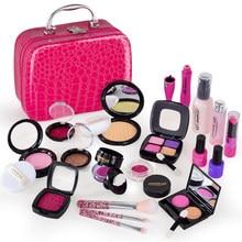 21Pcs Pretend Play Simulation Cosmetic Makeup Handbag Toys For Girls Children Educational Toys Birthday Gift - Rosy Pink PU Bag
