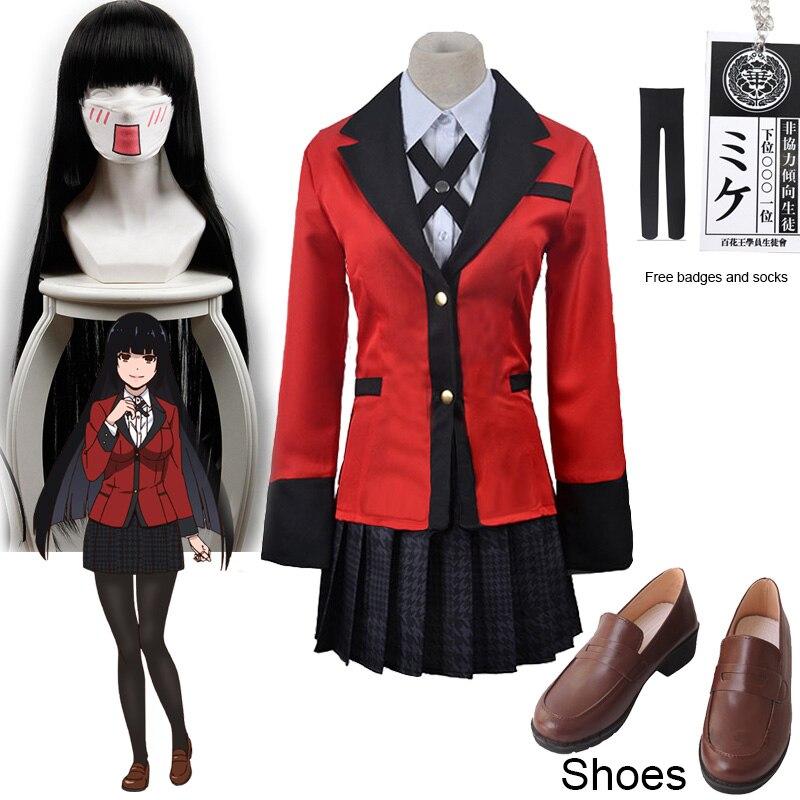 Jabami Yumeko Cosplay Shoes Kakegurui Compulsive Gambler Yumeko Jabami Cosplay Costume and Wigs Halloween Woman Party Costumes0 (1)